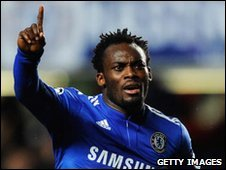 Michael Essien celebrates after scoring for Chelsea