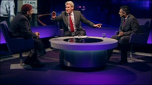 Anjem Choudary, left and Maajid Nawaz with Jeremy Paxman