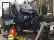 Damaged taxi