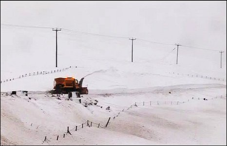 The B27 road between Hilltown and Kilkeel has been closed due to the snow