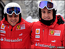 Ferrari drivers Felipe Massa (left) and Fernando Alonso