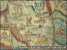 Sheldon tapestry map of Warwickshire - Warwickshire County Museum