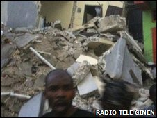 Image posted on Haitian website Radio Tele Ginen, said to show damage to buildings in the Haitian earthquake, 12 January