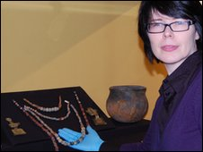Caroline McDonald and the Anglo-Saxon necklaces from Hadleigh Road in Ipswich