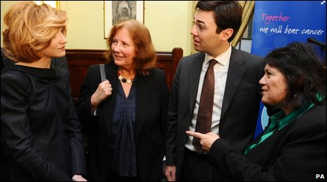 Nicola Roberts, Julie Morgan MP, Health Secretary Andy Burnham MP and Sian James MP