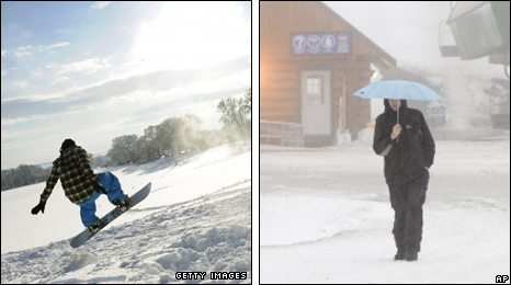 Left: Snowboarder in Hampshire. Right: Worker at Cypress Mountain
