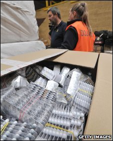 Box of medicine in a customs warehouse