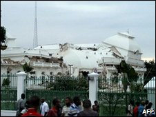 Damaged presidential palace in Haiti