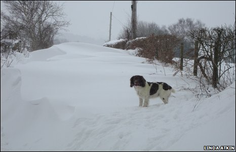 A country lane under drifting snow in Cyffylliog, near Ruthin