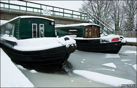 Trevor Wharf in thick snow and ice