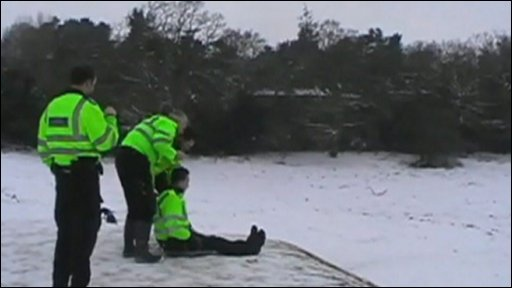 Police sledge on Boars Hill