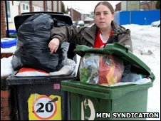 Lisa Harris and her overflowing bins