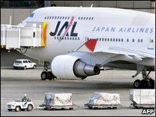 A Japan Airlines (JAL) 747 passenger plane at Narita International Airport near Tokyo