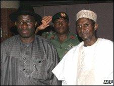 Goodluck  Jonathan (L) with Umaru Yar'Adua file image