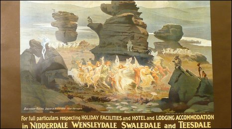 Vintage rail poster of Brimham Rocks. Image courtesy of Morphets Auctioneers