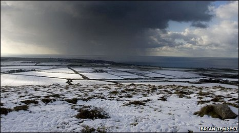 A snow storm over Cornwall