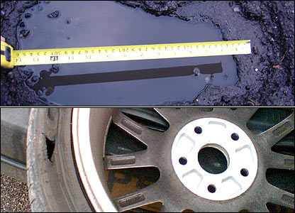 Pothole and wheel