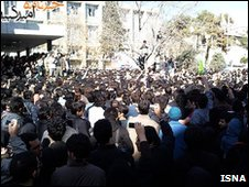 Hundreds of Iranian students at a demonstartion