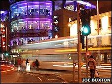 Bus in Nottingham city centre. Photo by Joe Buxton