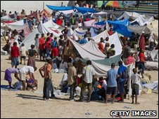 Displaced people in a football stadium in Port-au-Prince, Haiti