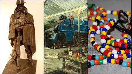 The bronze by Jagger, the Doncaster rail painting by Cuneo, and beads from a Burmese refugee