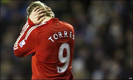 A distraught Fernando Torres at Anfield on Wednesday night