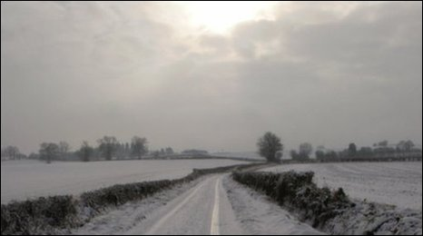 Snow on the roads around Martley, by Kathryn Smith. Send your pictures to worcester@bbc.co.uk
