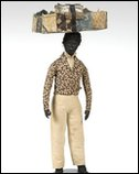 Model of a man selling textiles