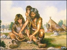 Early man using stone tools (SPL)