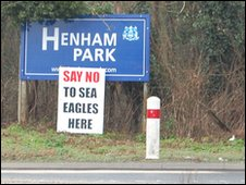 Anti-sea eagles placard on the A12 in Suffolk