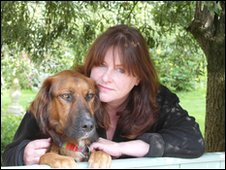 Jemima Harrison with her dog Jake