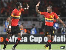 Manucho (L) and Flavio celebrate their goals in Luanda
