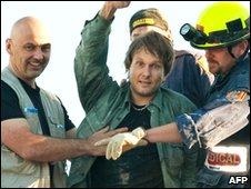 Estonian protection officer Tarmo Joveer moments after being rescued