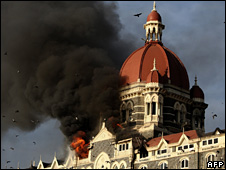 A hotel in Mumbai in flames after the attacks in 2008