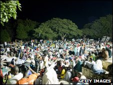 Displaced people gather on Place Boyer in Petionville. Photo by Frederic Dupoux/Getty Images