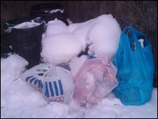 Rubbish in the snow in Llangollen