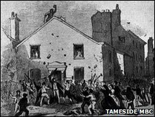 A mob attacking a church in Ashton in 1867