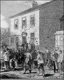 The Stalybridge Bread Rioters attack a house in 1863