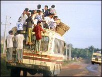 Crowded public transport in Bangladesh