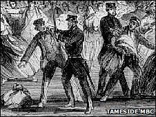 A police constable threatening a looter with a cutlass in the 1863 Stalybridge Bread Riot
