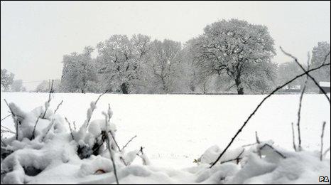 Snowy scene in Wales