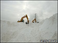 Rock salt being loaded onto a truck