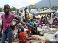 Haitian families in downtown Port-au-Prince