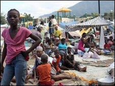 Haitian families in downtown Port-au-Prince