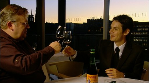 The BBC's Ken Macdonald samples Buckfast with Marc Henry, sommelier and head of wines at Harvey Nichols in Edinburgh.