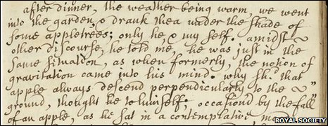 Screenshot of the original manuscript of the story of Willian Stukeley's biography of Sir Isaac Newton (Royal Society)