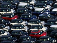 Mini cars waiting for export at Southampton docks