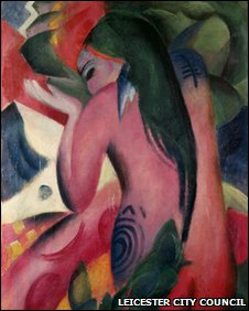 Red Woman, 1912, Oil on Canvas, Franz Marc