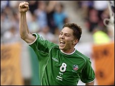 Republic of Ireland's Matt Holland celebrates scoring against Cameroon in the 2002 World Cup