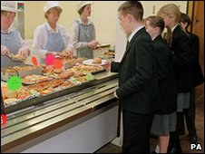 children queuing up for school dinner